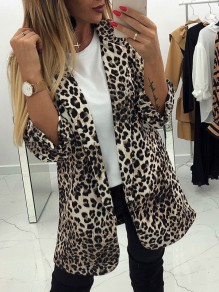 Beige Leopard Tailored Collar Fashion Suit