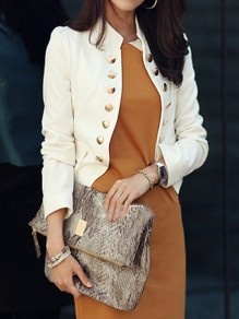 White Pockets Buttons Studded Double Breasted Band Collar Long Sleeve Elegant Blazer