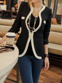 Black Color Block Buttons Pockets V-neck Long Sleeve Elegant Coat Suit