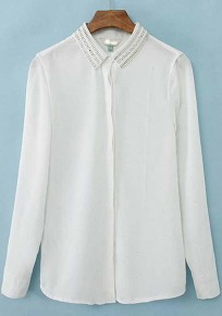 White Plain Rivet Long Sleeve Wrap Chiffon Blouse