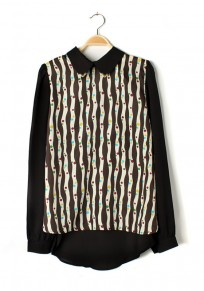Multicolor Patchwork Striped Lapel Long Sleeve Chiffon Blouse