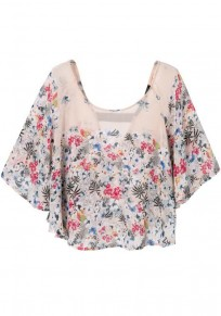 Multicolor Floral Print Lotus Sleeve Chiffon Blouse