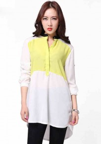 Yellow-White Patchwork Irregular Blouse