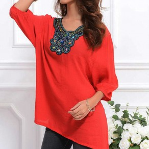 Red Floral Beading V-neck 3/4 Sleeve Loose Blouse