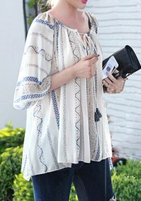 Beige Floral Drawstring Tassel Round Neck Elbow Sleeve National Blouse