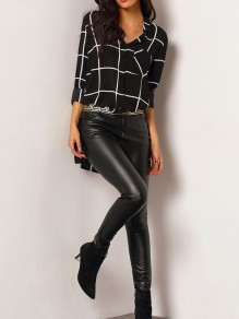 Black And White Plaid Print Irregular Pockets Slits On Both Sides Single Breasted Casual Blouse