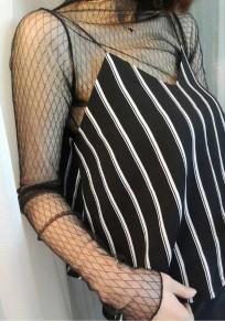 Camicetta pianura sexy manica lunga collo A fascia di pizzo granatina nero