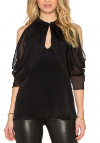 Black Patchwork Cut Out Ruffle Round Neck Blouse