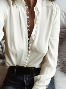 White Plain Buttons Long Sleeve Turndown Collar Blouse