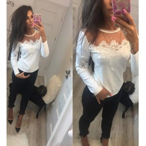 White Patchwork Lace Grenadine Round Neck Sweet Blouse
