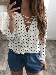 White Drawstring V-neck Long Sleeve Fashion Blouse