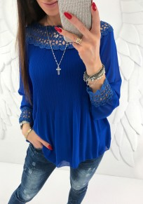 Dark Blue Patchwork Cut Out Ruffle Boat Neck Fashion Blouse