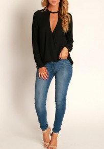 Black Irregular V-neck Long Sleeve Casual Chiffon Blouse