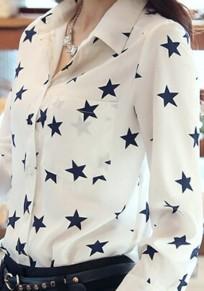 Camicetta stampa floreale A stella colletto alla rovescia v-collo manica lunga bianco