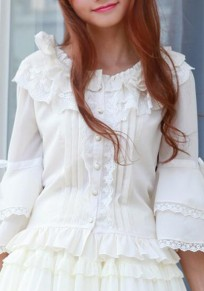 White Lace Single Breasted Bell Sleeve Sweet Cute Blouse