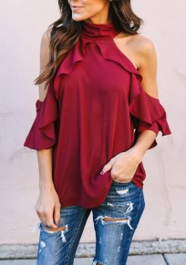 Burgundy Ruffle Halter Neck 3/4 Sleeve Casual Going out Blouse