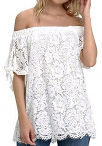 White Lace Off Shoulder Backless Plus Size Sweet Going out Blouse