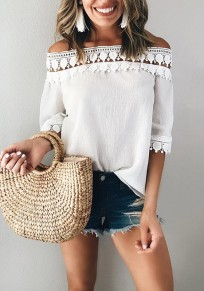 White Patchwork Lace Pleated Boat Neck Elbow Sleeve Casual Blouse