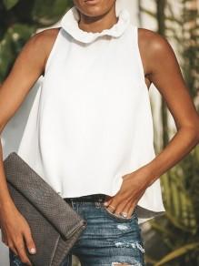 Camicetta fermacravatta colletto A fascia senza maniche alla moda bianca