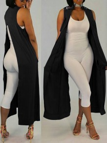 Black Cut Out Back Slits Sleeveless No Buttons Casual Vest