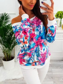 White Floral Print Asymmetric Shoulder Long Sleeve Fashion Blouse