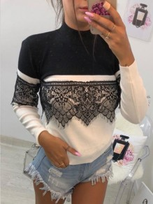 Black Patchwork Lace High Neck Long Sleeve Going out Casual Blouse