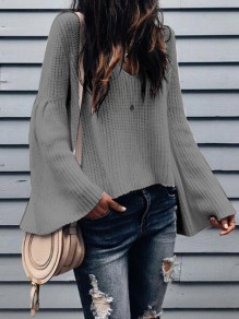 Grey Ruffle Long Sleeve V-neck Sweet Going out Blouse