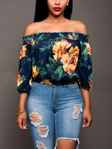 Navy Blue Floral Print Draped Plus Size Off Shoulder Backless 3/4 Sleeve Casual Elegant Blouse