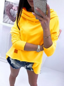 Yellow Plain Draped Collar Long Sleeve Going out Fashion Blouse