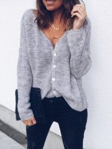 Grey Buttons V-neck Long Sleeve Fashion Going out Blouse