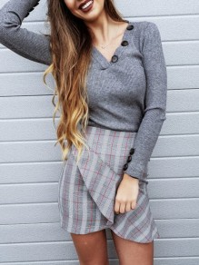 Grey Buttons V-neck Long Sleeve Casual Blouse