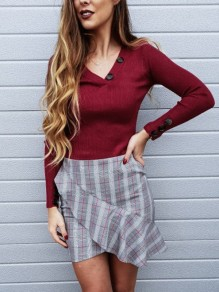 Wine Red Buttons V-neck Long Sleeve Casual Blouse