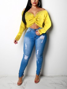 Yellow Pearl Irregular Off Shoulder Backless V-neck Long Sleeve Casual Blouse