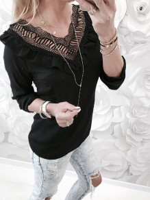 Black Patchwork Lace Cut Out Ruffle V-neck Long Sleeve Blouse