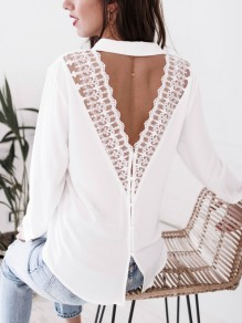 White Patchwork Lace Cut Out Buttons Backless V-neck Blouse