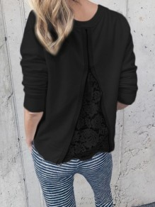 Black Patchwork Lace Zipper Round Neck Long Sleeve Casual Blouse