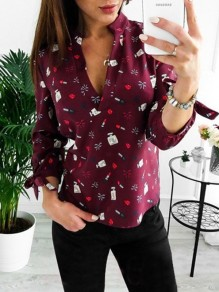 Red Floral Print Bow V-neck Long Sleeve Fashion Blouse