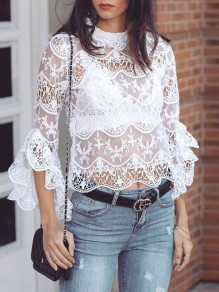 White Floral Cut Out Lace Ruffle Long Sleeve Band Collar Sweet Blouse