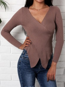 Brown Irregular Cross Front V-neck Long Sleeve Casual Blouse