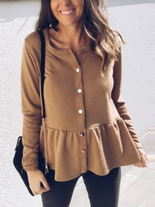 Camel Single Breasted Pleated Peplum Long Sleeve Round Neck Casual Blouse