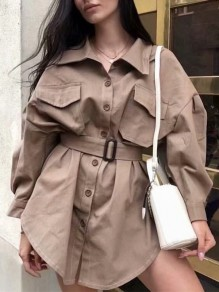 Khaki Belt Pockets Buttons Turndown Collar Fashion Blouse
