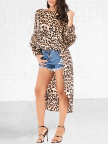 Brown Leopard Print High-low Round Neck Lantern Sleeve Blouse