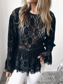 Black Patchwork Lace Round Neck Long Sleeve Fashion Blouse