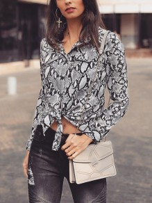 Grey Floral Snakeskin Pattern Print Single Breasted Pockets Irregular Turndown Collar Long Sleeve Fashion Blouse