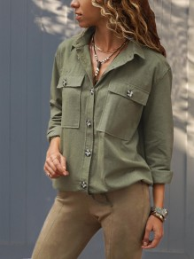 Green Buttons Pockets Single Breasted Turndown Collar Long Sleeve Fashion Blouse