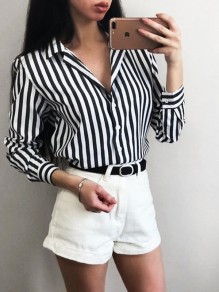 Black-White Striped Buttons Single Breasted Turndown Collar Long Sleeve Fashion Blouse