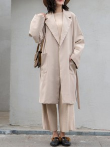 Beige Lace-up Pockets Comfy V-neck Elegant Daily Suit Coat