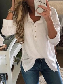 White Buttons Slit V-neck Long Sleeve Fashion Blouse