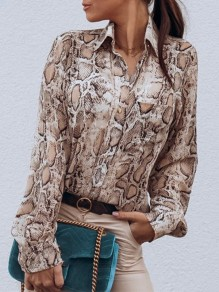 Khaki Floral Print V-neck Long Sleeve Fashion Blouse
