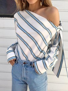 Blue Striped Ruffle Sashes Bow Fashion One Shoulder Long Sleeve Blouse